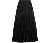 Embroidered pleated silk maxi skirt