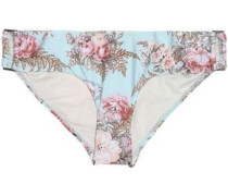 Leopard-print cloqué low-rise bikini briefs