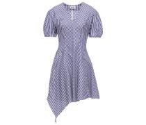 Woman Asymmetric Pleated Striped Cotton-poplin Mini Dress Navy