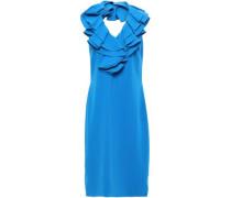 Ruffle-trimmed Cady Halterneck Dress Azure