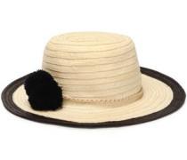 Pompom-embellished straw sunhat