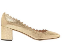 Scalloped Metallic Cracked-leather Pumps Gold