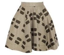 Pleated printed woven mini skirt