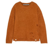 Distressed Wool-blend Sweater Camel