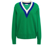 Woman Striped Intarsia Wool And Cashmere-blend Sweater Green