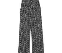 Floral-print Crepe Wide-leg Pants