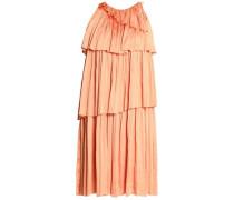 Pleated tiered twill dress