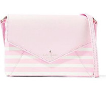 Monday Striped Faux Textured-leather Shoulder Bag Baby Pink Size --