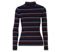 Striped Merino Wool Turtleneck Sweater Kobaltblau
