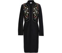 Embellished embroidered wool-blend coat