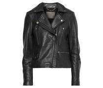 Woman Calista Textured-leather Biker Jacket Black