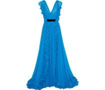 Ruffled Silk-chiffon Gown Azure