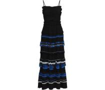 Cutout Chiffon-trimmed Pleated Crepe De Chine Maxi Dress Black Size 0