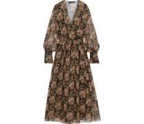 Woman Wrap-effect Floral-print Silk-chiffon Maxi Dress Black