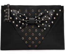 Bow-embellished Studded Leather Clutch Black Size --