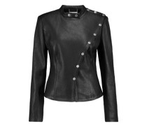 Warrior Textured-leather Biker Jacket Black