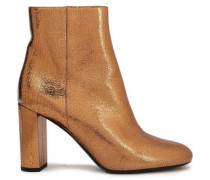 Metallic Cracked-leather Ankle Boots Gold