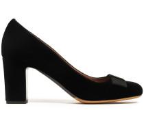 Woman Flora Grosgrain-trimmed Bow-embellished Velvet Pumps Black