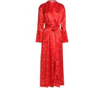Printed silk-satin robe
