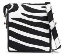 Leather-trimmed Zebra-print Silk-twill Shoulder Bag Animal Print Size --