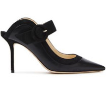 Woman Hendrix Suede-trimmed Leather Mules Black