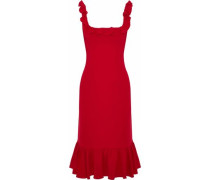 Opalina fluted ruffle-trimmed crepe dress