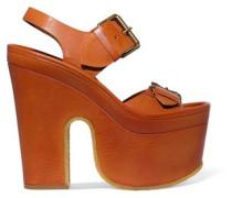 Faux leather platform sandals
