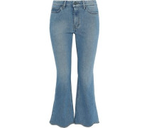 Marty Frayed Low-rise Kick-flare Jeans Mid Denim  6