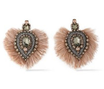 Silver-tone Bead, Crystal And Feather Earrings Blush Size --