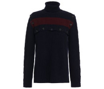 Woman Button-detailed Ribbed Wool Turtleneck Sweater Midnight Blue