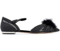 Paola Feather-embellished Glittered Velvet Point-toe Flats Black