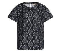 Layered Laser-cut Jersey And Mesh T-shirt Navy