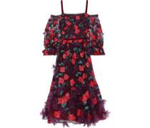 Cold-shoulder Floral-appliquéd Embroidered Tulle Midi Dress Plum