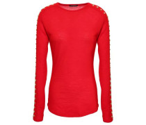 Studded Wool-jersey Top Red