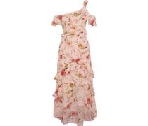 Jillian one-shoulder silk-chiffon midi dress