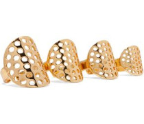 Set of four gold-plated rings