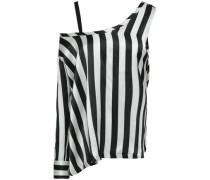 Asymmetric Striped Silk-satin Blouse Black