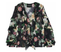 Woman Ruffled Floral-print Silk-chiffon Blouse Black