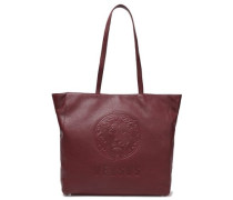 Embossed Pebbled-leather Tote Burgundy Size --