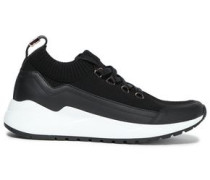 Woman Stretch-knit And Leather-paneled Sneakers Black