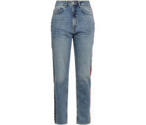 Appliquéd Faded High-rise Tapered Jeans Mid Denim  8