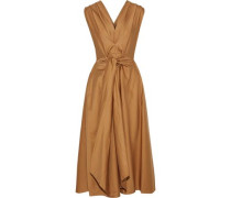 Tie-front Pleated Cotton-poplin Midi Dress Camel