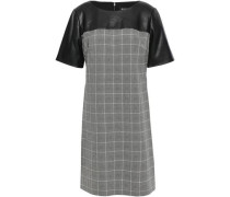 Faux Leather-paneled Checked Woven Mini Dress Gray
