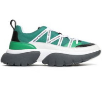 Mesh And Textured-leather Sneakers Green