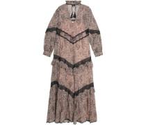Paneled lace and printed cotton chiffon maxi dress