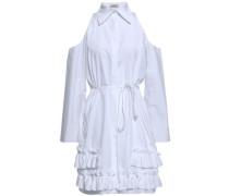 Cold-shoulder Ruffled Cotton-poplin Dress White