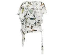 Draped Printed Fil Coupé Jacquard Top White