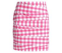 Paneled gingham cotton-blend mini skirt