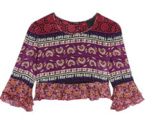 Cropped ruffled printed silk and cotton-blend top
