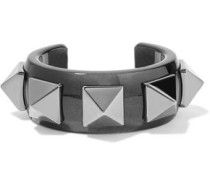 Woman Rockstud Gunmetal-tone And Resin Cuff Black